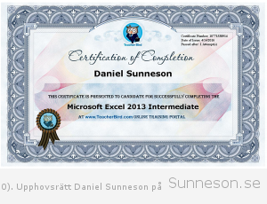 Certification of completion Daniel Sunneson